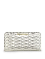 Rebecca Minkoff Sophie Metallic Quilted Leather Snap Continental Wallet Pewter