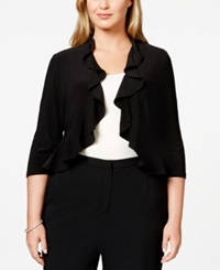 R And M Richards Plus Size Ruffled Bolero Black