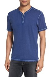 John Varvatos Men's Star Usa Snap Short Sleeve Henley Regal Blue