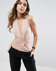 Asos Sleeveless Top With Twist Detail Light Brown Purple