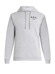 A.P.C. Logo Print Hooded Cotton Blend Sweatshirt Grey