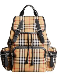 Burberry The Medium Rucksack In Vintage Check Cotton Canvas Yellow And Orange