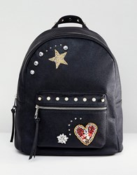 Asos Embellished Badge Backpack Black
