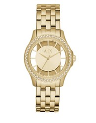 Armani Exchange Lady Hampton Stainless Steel Link Bracelet Watch Gold
