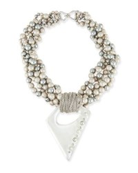 Alexis Bittar Pearly Multi Strand Necklace With Studded Pendant