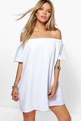 Boohoo Frill Sleeve Off The Shoulder Shift Dress White