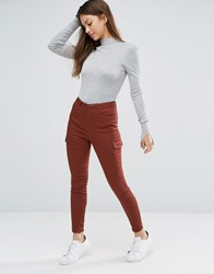 Asos Utility Skinny Trousers With Patch Pockets Brown