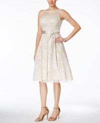 Jessica Howard Illusion Floral Applique Fit And Flare Dress Champagne
