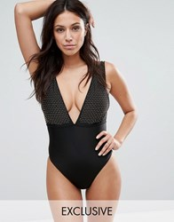 Wolf And Whistle Studded Swimsuit Black