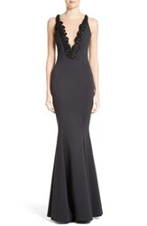 Rachel Gilbert Women's Embellished Illusion V Neck Trumpet Gown