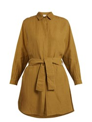 On The Island Tie Waist Linen Shirtdress Khaki