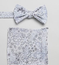 Asos Design Bow Tie And Pocket Square In White Floral
