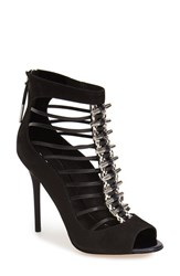 Women's L.A.M.B. 'Master' Cage Peep Toe Sandal Black Suede Leather