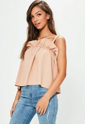 Missguided Nude Gathered Cami Vest Top