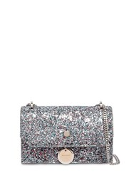 Jimmy Choo Finley Glittered Leather Shoulder Bag Blue Pink