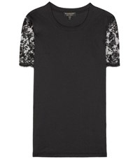 Burberry Cotton Lace Embellished T Shirt Black
