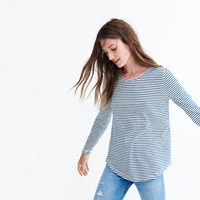 Madewell Whisper Cotton Long Sleeve Crewneck Tee In Hardy Stripe Bright Ivory