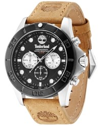 Timberland Men's Chronograph Rollins Brown Leather Strap Watch 46Mm Tbl13909jstb02