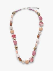 One Button Multi Bead Necklace Rose Mix
