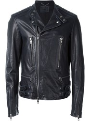 Diesel Black Gold Embroidered Leather Jacket Blue
