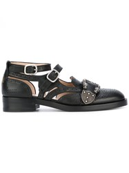 Gucci Queencore Brogue Monk Shoes Women Leather 38 Black