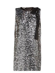 Miu Miu Sequinned Crepe Mini Dress Silver