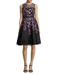 Decode 1.8 Embroidered Mesh Lace Dress Black Purple