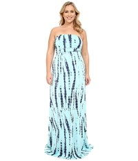 Culture Phit Plus Size Hally Dress Baby Blue Tie Dye Women's Dress Green