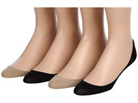 Hue Microfiber Liner 4 Pair Pack Black Cream Assorted Women's No Show Socks Shoes