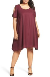 Sejour Plus Size Women's Cold Shoulder Swing Dress Burgundy London