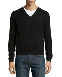Just Cavalli Long Sleeve V Neck Wool Sweater Black Men's