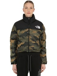 The North Face Nuptse Cropped Down Jacket Camouflage