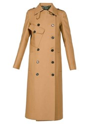 Rochas Double Breasted Wool Blend Trench Coat Beige