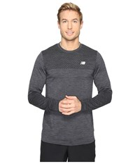 New Balance M4m Seamless Long Sleeve Top Black Heather Men's Long Sleeve Pullover