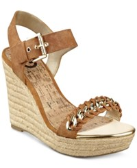 G By Guess Women's Elliot Platform Wedge Sandals Women's Shoes Luggage