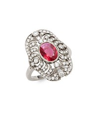 Kwiat Vintage Ruby Diamond And 18K White Gold Fancy Ring Silver