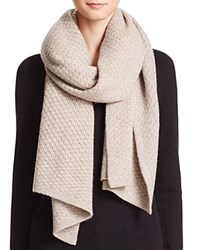 Bloomingdale's C By Cashmere Honeycomb Knit Scarf Oatmeal Gray