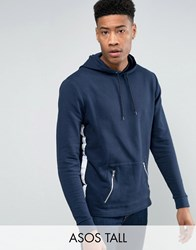 Asos Tall Oversized Hoodie With Taping And Zip Pockets Navy