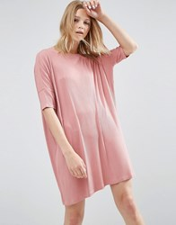 Asos T Shirt Dress In Rib Dusty Rose Pink