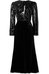 Racil Cutout Sequined Mesh And Velvet Midi Dress Black