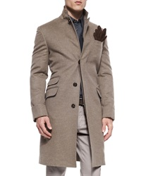 Brunello Cucinelli Single Breasted Flannel Overcoat Brown