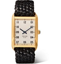 Tom Ford Quartz 18 Karat Gold And Woven Leather Watch White