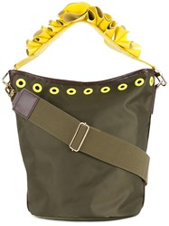 Muveil Floral Strap Bucket Tote Green