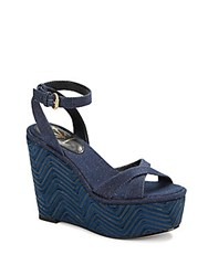 Vince Camuto Danee Chevron Wedge Denim Sandals Ragazzo