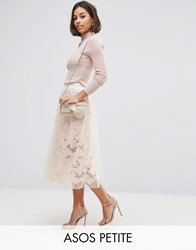 Asos Petite Lace Prom Skirt With Mesh Overlay Nude Pink