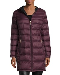 Michael Michael Kors Smocked Back Long Quilted Puffer Coat Eggplant