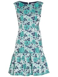 Gina Bacconi Floral Jacquard Dress Mint