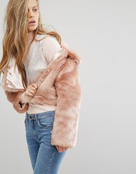 Miss Selfridge Blush Faux Fur Jacket Blush Pink