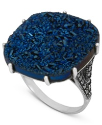 Genevieve And Grace Sterling Silver Ring Blue Druzy And Marcasite Square Ring