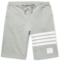 Thom Browne Striped Loopback Cotton Jersey Shorts Gray